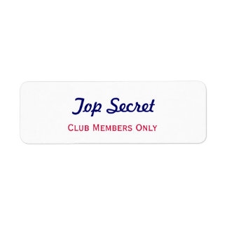 Top Secret Return Address Label