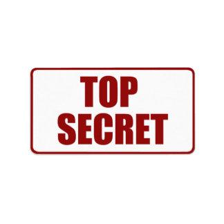 Top Secret Medium size label