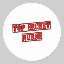 Top Secret Nurse Round Sticker