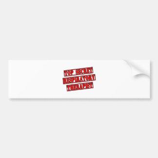 Top Secret Respiratory Therapist Car Bumper Sticker