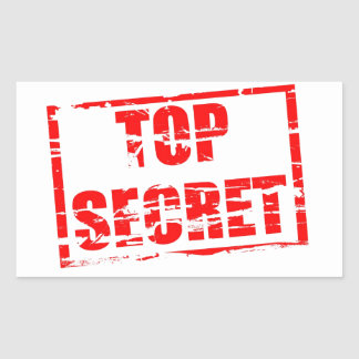 Top secret rubber stamp effect rectangle sticker