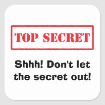 Top secret, shhh don't let the secret out stickers