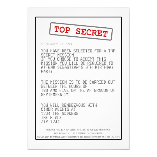 Top Secret Special Agent Spy Surprise Party Card | Zazzle.com