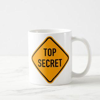 Top Secret Spy CIA Yellow Diamond Warning Sign Coffee Mug