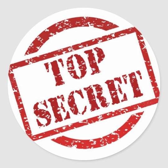 Top Secret Stamp Classic Round Sticker Glossy