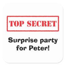 Top secret, surprise party for [name] envelope seals