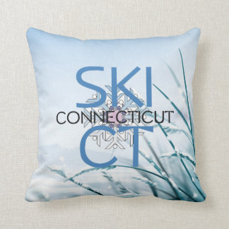 TOP Ski Connecticut Throw Pillows