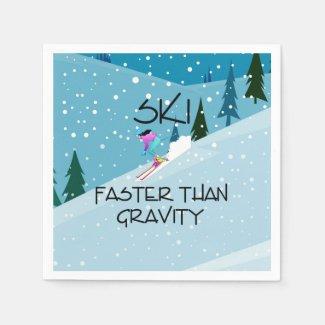 TOP Ski Faster Paper Napkin