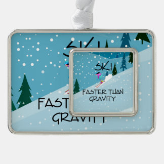 TOP Ski Faster Silver Plated Framed Ornament