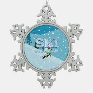 TOP Ski Michigan Snowflake Pewter Christmas Ornament