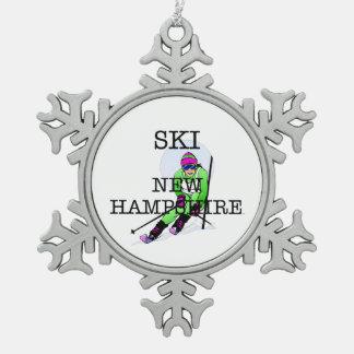 TOP Ski New Hampshire Snowflake Pewter Christmas Ornament