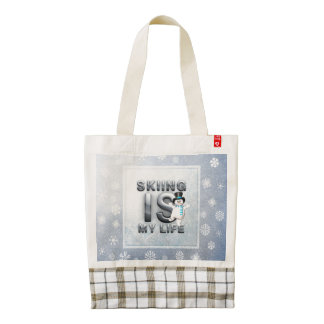 TOP Skiing is My Life Zazzle HEART Tote Bag