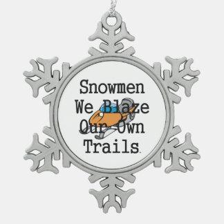 TOP Snowmen Snowflake Pewter Christmas Ornament