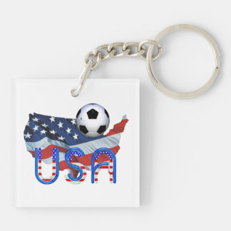 TOP Soccer USA Double-Sided Square Acrylic Keychain