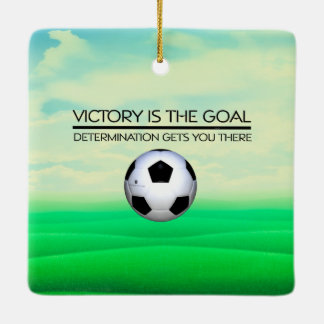 TOP Soccer Victory Slogan Ceramic Ornament