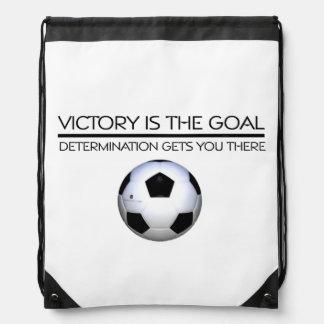 TOP Soccer Victory Slogan Drawstring Backpack