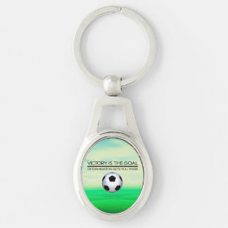 TOP Soccer Victory Slogan Silver-Colored Oval Metal Keychain
