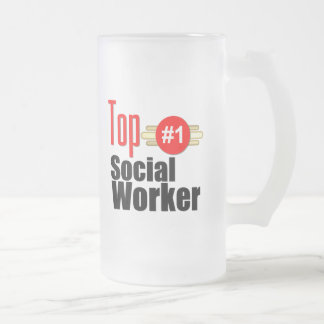 Top Social Worker Frosted Glass Beer Mug