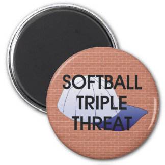 TOP Softball Triple Threat 2 Inch Round Magnet