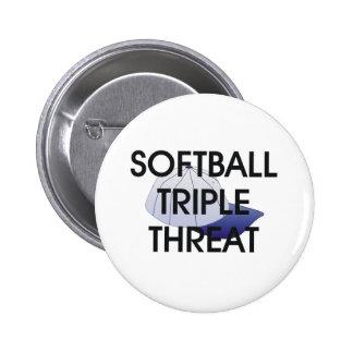TOP Softball Triple Threat Pinback Button