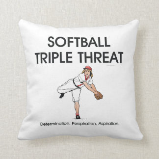 TOP Softball Triple Threat Throw Pillow