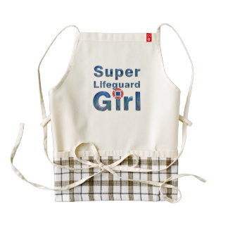 TOP Super Lifeguard Girl Zazzle HEART Apron