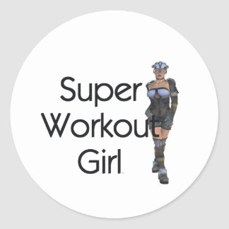 TOP Super Workout Girl Classic Round Sticker