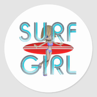 TOP Surf Girl Classic Round Sticker