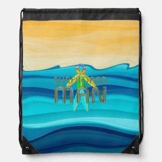 TOP Surfboard Man Drawstring Bag