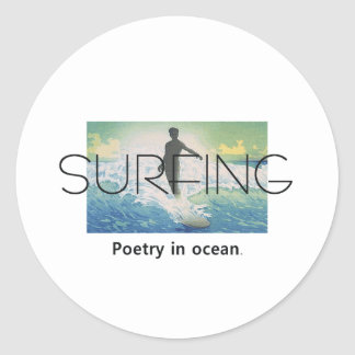 TOP Surfing Poetry in Ocean Classic Round Sticker