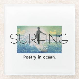 TOP Surfing Poetry in Ocean Glass Coaster