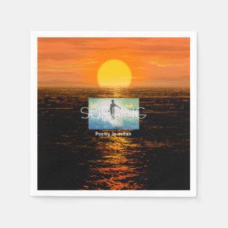 TOP Surfing Poetry in Ocean Paper Napkin