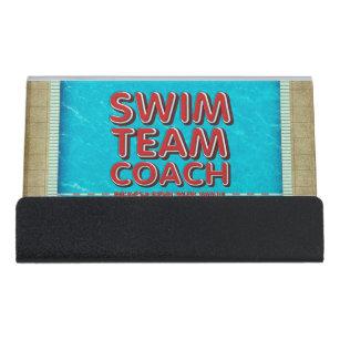 Swim coach business card holders cases zazzle top swim coach desk business card holder colourmoves