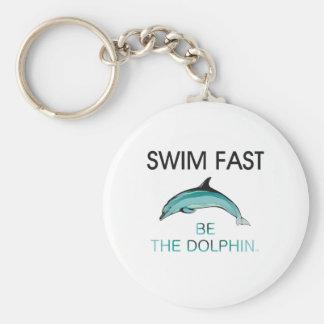 TOP Swim Dolphin Fast Basic Round Button Keychain