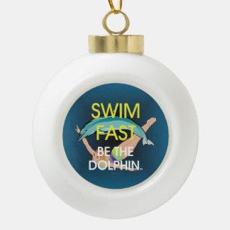 TOP Swim Dolphin Fast Ceramic Ball Christmas Ornament