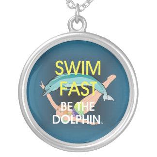 TOP Swim Dolphin Fast Round Pendant Necklace