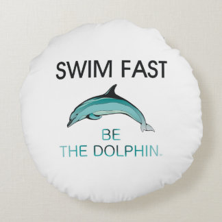 TOP Swim Dolphin Fast Round Pillow
