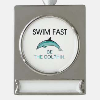 TOP Swim Dolphin Fast Silver Plated Banner Ornament