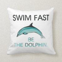 TOP Swim Dolphin Fast Throw Pillow