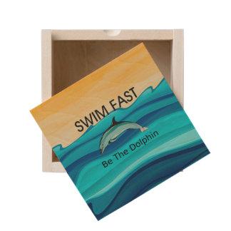 TOP Swim Dolphin Fast Wooden Keepsake Box