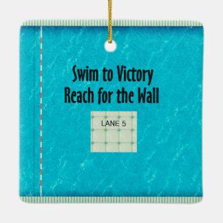 TOP Swim Team Slogan Ceramic Ornament
