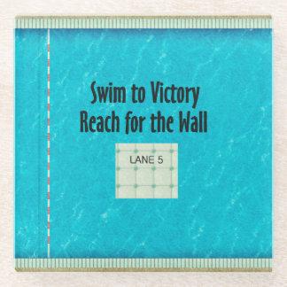 TOP Swim Team Slogan Glass Coaster