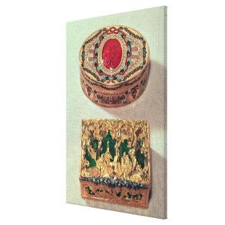 Top: Tabaquera del oro embutida con las diversas p Lona Estirada Galerías