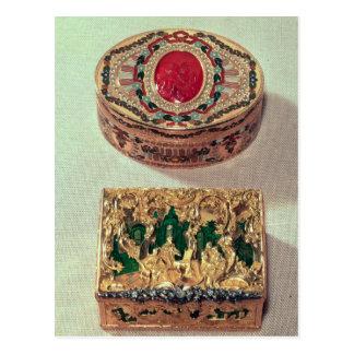 Top: Tabaquera del oro embutida con las diversas Postal