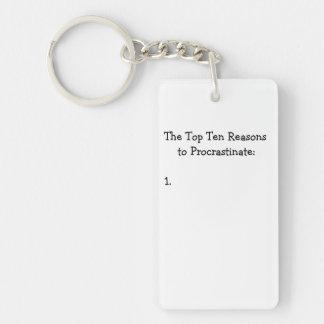 Top Ten Reasons to Procrastinate Joke Keychain