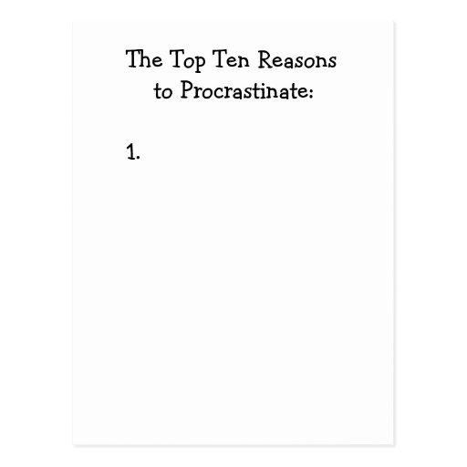 Top Ten Reasons to Procrastinate Joke Post Cards