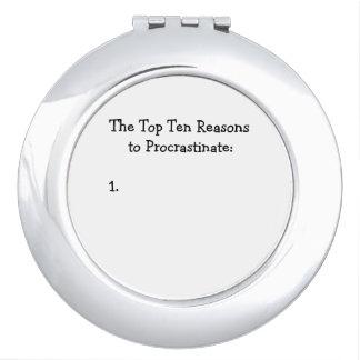 Top Ten Reasons to Procrastinate Joke Vanity Mirror