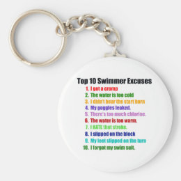 Top Ten Swimmers Excuses Keychain