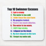 Top Ten Swimmers Excuses Mouse Pad