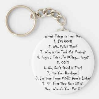 Top Ten Worst Things To Hear At A Raid Keychain